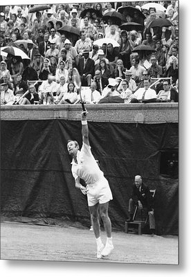 Rod Laver Tennis Serve Metal Print by Underwood Archives