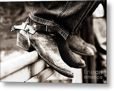 Metal Print featuring the photograph Rodeo Boots And Spurs In Black And White by Lincoln Rogers