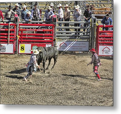 Rodeo Clowns At Work Metal Print