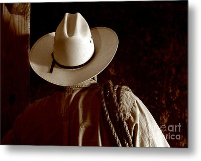 Rodeo Cowboy Metal Print by Olivier Le Queinec
