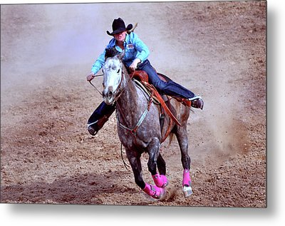 Metal Print featuring the photograph Rodeo Cowgirl by Barbara Manis