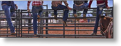 Rodeo Fence Sitters Metal Print by Priscilla Burgers