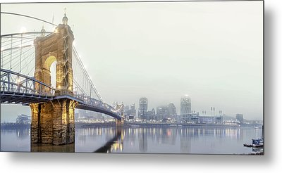 Roebling In The Fog Metal Print