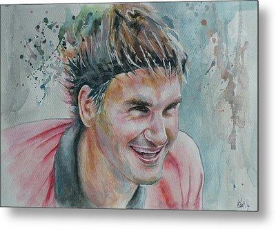 Roger Federer - Portrait 3 Metal Print