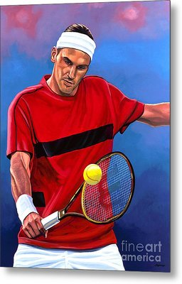 Roger Federer The Swiss Maestro Metal Print by Paul Meijering