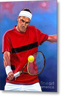 Roger Federer The Swiss Maestro Metal Print by Paul Meijering