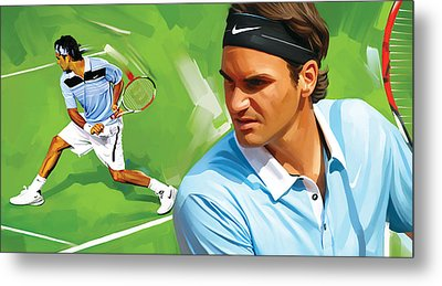 Roger Federer Artwork Metal Print