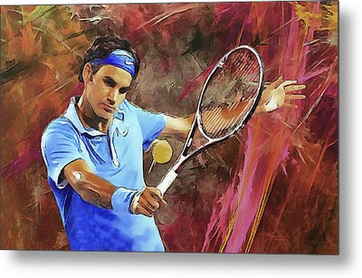 Roger Federer Backhand Art Metal Print by RochVanh