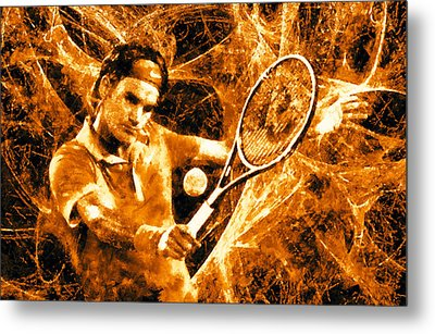 Roger Federer Clay Metal Print by RochVanh