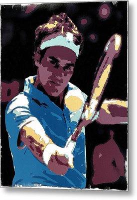 Roger Federer Portrait Art Metal Print by Florian Rodarte