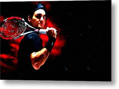 Roger Federer Tennis Metal Print