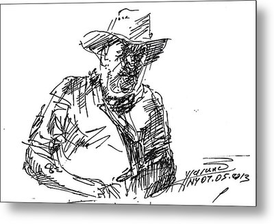 Roger In A Cowboy Hat Metal Print by Ylli Haruni