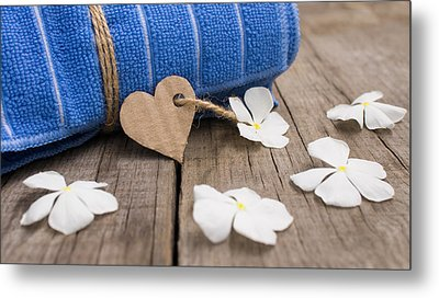Rolled Up Towel And Paper Heart Metal Print by Aged Pixel