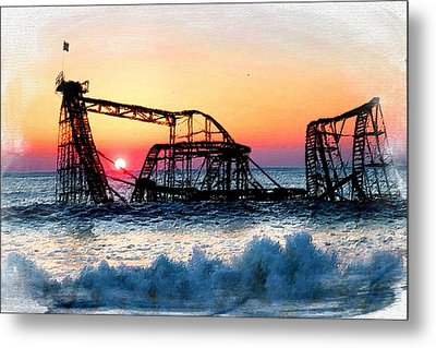 Roller Coaster After Sandy Metal Print