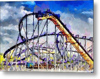 Roller Coaster Painting Metal Print by Magomed Magomedagaev