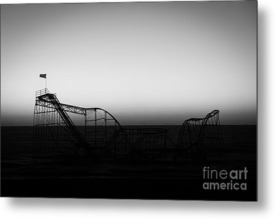 Roller Coaster Silhouette Black And White Metal Print by Michael Ver Sprill