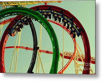 Rollercoaster Looping At The Actoberfest In Munich Metal Print by Sabine Jacobs