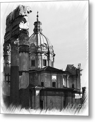 Roma Black And White Metal Print by Stefano Senise