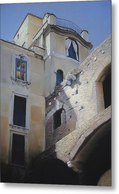 Metal Print featuring the pastel Roman Apartments - Pastel by Ben Kotyuk