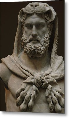 Roman Art. Marble Statue Of A Bearded Hercules Covered With Lions Skin. Early Imperial, Flavian Metal Print