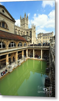 Roman Bath And Bath Abbey Metal Print by Paul Cowan