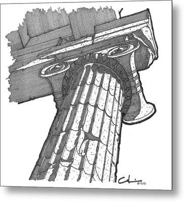 Roman Ionic Column Capital Metal Print
