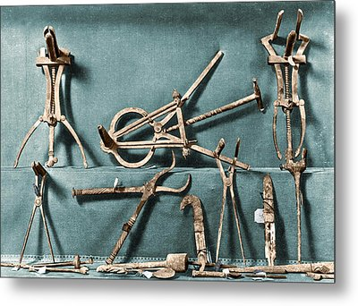 Metal Print featuring the photograph Roman Surgical Instruments, 1st Century by Science Source