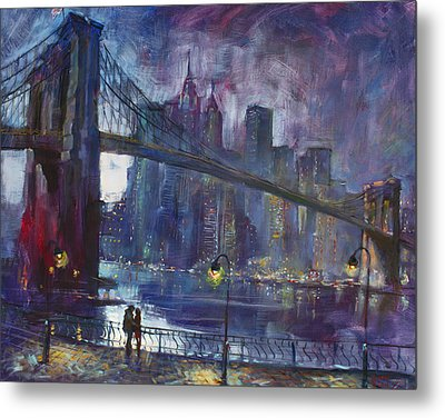 Romance By East River Nyc Metal Print by Ylli Haruni