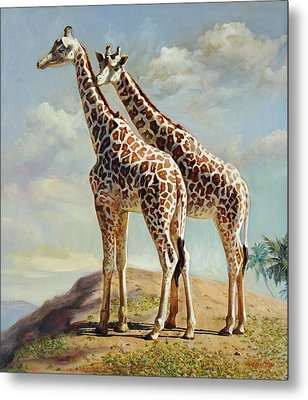 Romance In Africa - Love Among Giraffes Metal Print by Svitozar Nenyuk