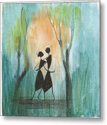Romance In Blue Metal Print by Chintaman Rudra