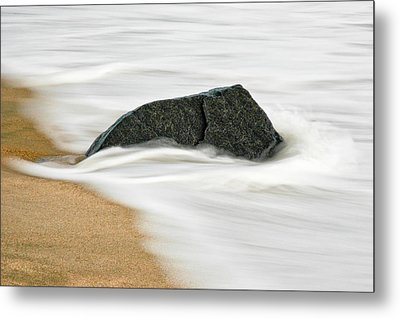Surf Caresses A Lonely Stone Metal Print
