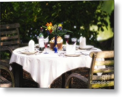Romantic Outdoor Dinner Table  Metal Print