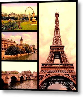 Romantic Paris Sunset Collage Metal Print by Carol Groenen