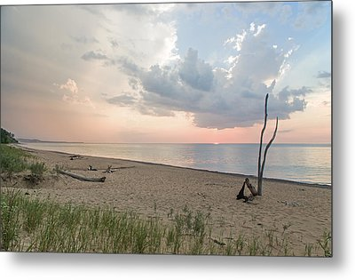 Romantic Sunset At Agate Beach Metal Print