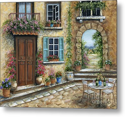 Romantic Tuscan Courtyard Metal Print