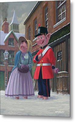 Romantic Victorian Pigs In Snowy Street Metal Print by Martin Davey