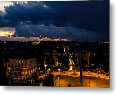 Rome Cityscape At Night  Metal Print