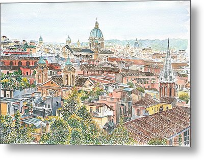 Rome Overview From The Borghese Gardens Metal Print by Anthony Butera