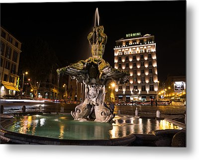 Rome's Fabulous Fountains - Bernini's Fontana Del Tritone Metal Print