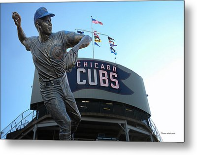 Ron Santo Chicago Cubs Statue Metal Print by Thomas Woolworth