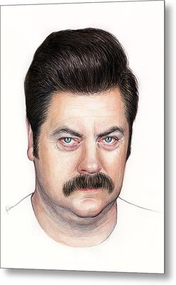 Ron Swanson Portrait Nick Offerman Metal Print by Olga Shvartsur