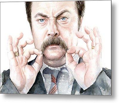 Ron Swanson Mustache Portrait Metal Print by Olga Shvartsur