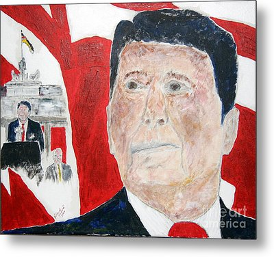 Ronald Reagan And Mikhail Gorbachev Tear Down These Walls Metal Print