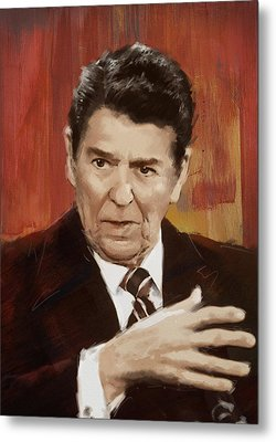 Ronald Reagan Portrait 2 Metal Print by Corporate Art Task Force