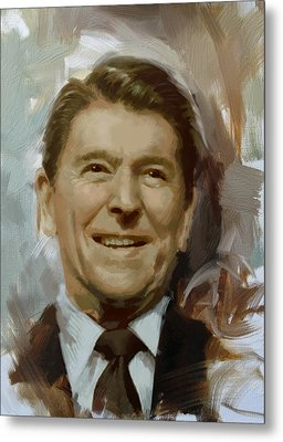 Ronald Reagan Portrait Metal Print by Corporate Art Task Force