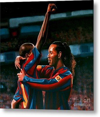 Ronaldinho And Eto'o Metal Print by Paul Meijering