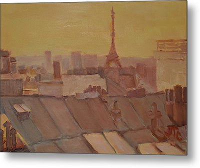 Metal Print featuring the painting Roofs Of Paris by Julie Todd-Cundiff