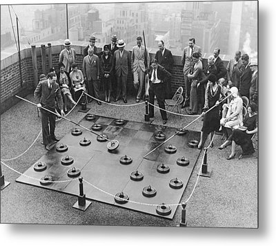 Rooftop Giant Checkers Game Metal Print