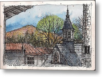 Metal Print featuring the mixed media Rooftops At Old Edwards Inn by Tim Oliver