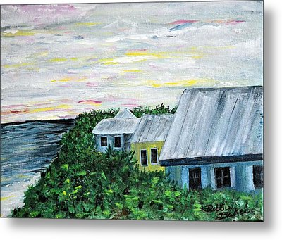 Metal Print featuring the painting Rooftops At Sunset by Debbie Baker